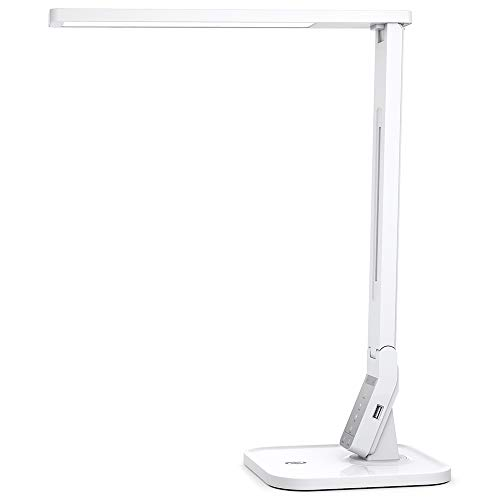 Schreibtischlampe LED TaoTronics Tischlampe Bürolampe dimmbar mit 4 Farbmodi & 5 Helligkeitsstufen (5V/1A USB-Ladeanschluss, 140 Grad Drehbarer Arm, Touchsteuerung & Memory-Funktion)