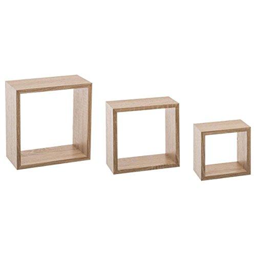 Kit de 3 étagères murales Cube chêne Naturel