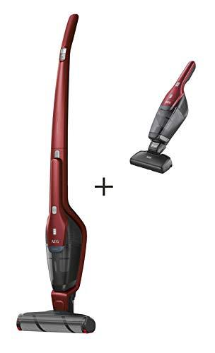 AEG QX8-1-45CR 2in1 Akku-Staubsauger (beutellos, inkl. Elektrosaugbürste, bis zu 45 Min. Laufzeit, freistehend, 180° Drehgelenk, schonende Bürstenrolle, Schmutzaufnahme großer Partikel, rot)