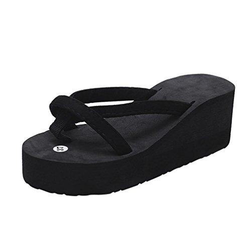FEITONG Damen Flip Flop Summer Beach Pool Schuhe Dicke Sohle Hausschuhe Strand Sandalen Freizeit Schuhe (EU:36, Schwarz)