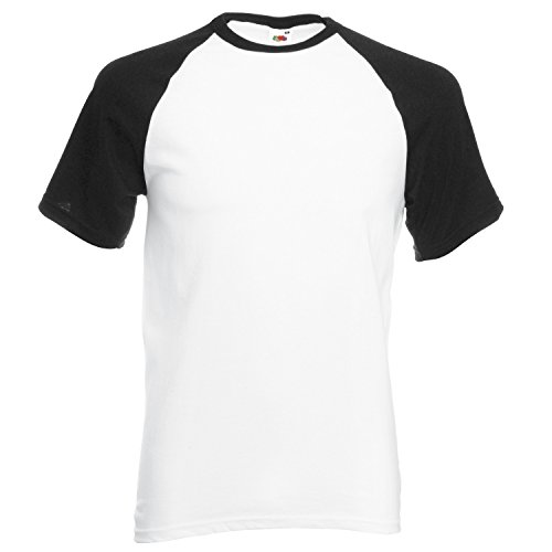 Fruit of the Loom SS008M, T-Shirt Uomo White / Black