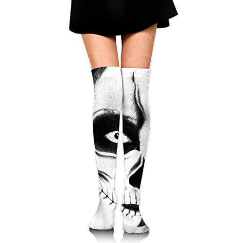 lack and White Skull Makeup Ankle Stockings Over The Knee Sexy Womens Sports Athletic Soccer Socks ()