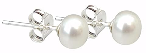 Pearls Paradise Cultured Freshwater Dainty 5mm White Pearl Silver (925) Stud earrings, presented in an (5 Mm Orecchino Di Perla)