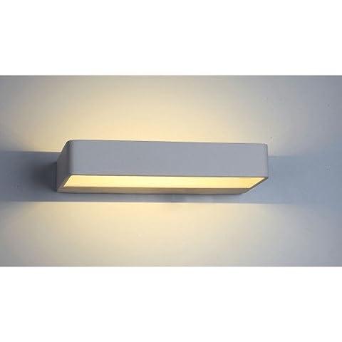 Applique murale LED 6 Watt | Lèche-mur décoratif | Couleur blanc | Lampe Vizioni Mauro | Dimensions: 230 x 35 x 120 mm | 2 ans garantie