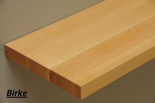 Wandbord Wandboard Design Livingboard Regal massiv Holz - verschiedene Holzarten wählbar - Tiefe:20cm Dicke:25mm (Birke, 110cm)