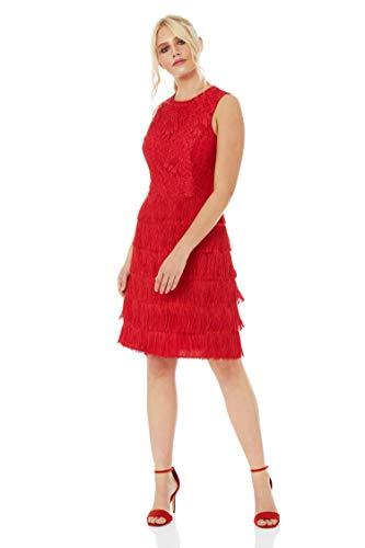 Roman Originals Damen-Kleid mit Spitze und Fransen - ärmellose, knielange Kleider, Vintage, Retro, Flapper, kleines Schwarzes, zum Ausgehen, für Partys, Cocktails - Rot - Größe 40