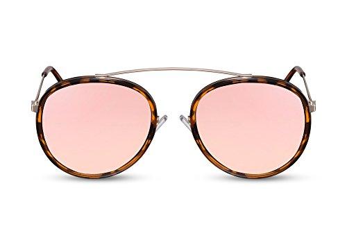 Cheapass Sonnenbrille Rund-e Verspiegelt-e Designer-Brille Rosé-Gold Leo-Print UV-400 Lichtschutz Hipster Metall Damen Frauen -