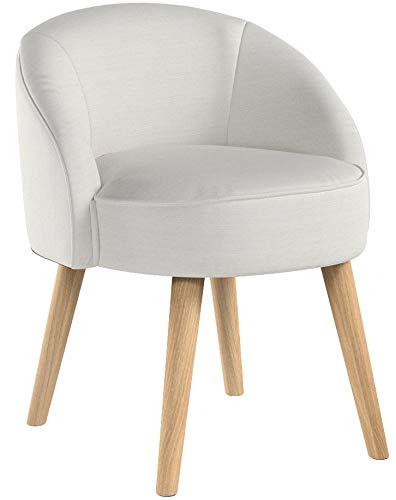 Kleiner Hocker Sessel Stuhl mit Lehne Creme weiß WS487 1