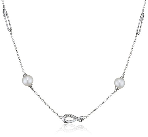 Fiorelli Gold 9ct White Gold Diamond and Pearl Infinity Necklace of Length 47cm