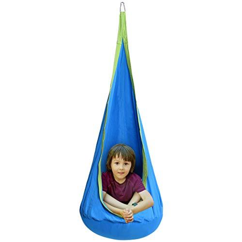 DREAMADE Hängehöhle für Kinder, Hängesessel Kinderhängesitz für innen und draußen, Kinder Hängesack als Fly Schaukel, Kinderhängeplatz Hängeschaukel mit Sitzkissen, max. 80kg belastbar (Blau)