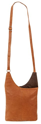 CININO Ledertasche Umhänger 2-COLOR Handtasche Leder +Etui Cognac / Brown