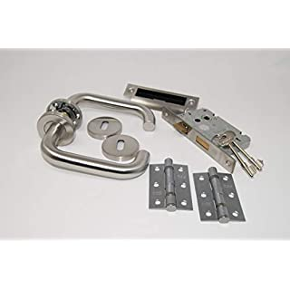 ArcWare Architectural Limited D Shape Lever Handle Internal 3 Lever Lockset with Hinges - Satin Stainless Steel
