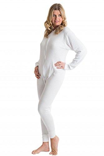 OCTAVE® Damen Thermo-Unterwäsche All in One Union Anzug mit Reißverschluss hinten Lasche [Medium, Schnee weiß] (Union Thermal Anzug)