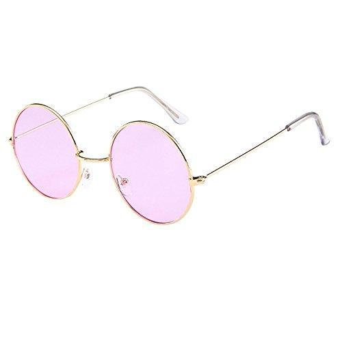 Lazzboy Frauen Männer Vintage Retro Brille Unisex Fashion Circle Frame Sonnenbrille Eyewear Klassische Lennon Runde Polarisierte Mit Schutz Paar Hippie Stil Kreis Farbige Gläser(E)