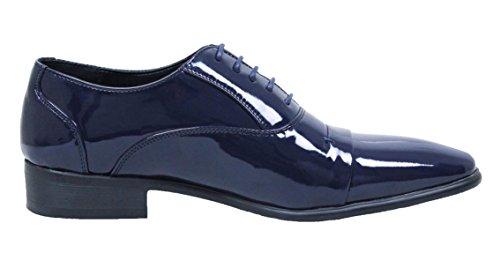 Scarpe uomo class eleganti blu scuro lucide vernice linea classica (43)
