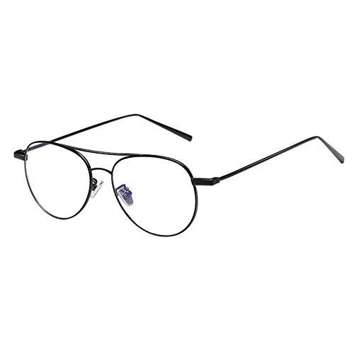 Zhuhaixmy Anti Blue Light Aviator Brille - Phones Game TV Gläser für Anti Eye Strain UV Goggle Retro Metall Rahmen Männer Frau Eyeglasses (Matt Schwarz)