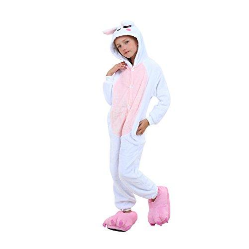 ny Pyjama Frauen Jumpsuits Tier Outfit Tier Kostüme Pyjamas Tier Schlafanzug mit Kaninchen Kostüme Geeignet für ein Festival Adult, Kinder (Kaninchen Blau, Größe 125) (Bunny Pyjamas Kostüm)