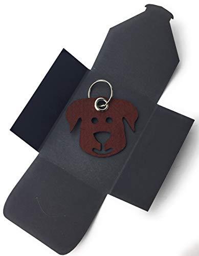 filzschneider Schlüsselanhänger aus Filz - Hunde-Gesicht/Tier - dunkel-braun/nuss-braun - als besonderes Geschenk mit Öse und Schlüsselring - Made-in-Germany -