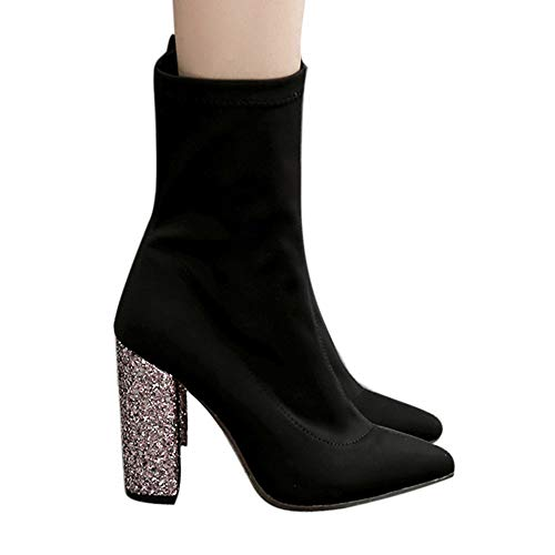 Geili Damen Chelsea Stiefel Halbschaft Stiefeletten mit Bling Blockabsatz Frauen Modische Stretch-Stoff Spitze Stiefel Schlüpfen Boots Hoher Absatz Abendschuhe Stöckelschuh