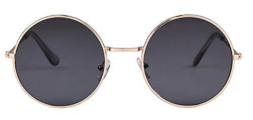 WSKPE Sonnenbrille Frauen Bunte Runde Sonnenbrille Kreis Rosa Linse Klein Sonnenbrille Tönung Schattierungen (Schwarz Objektiv)
