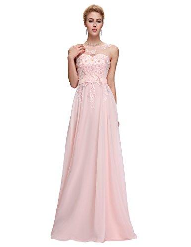 Lange Damen Abendkleider Ballkleider Partykleider Ärmellos Chiffon Kleid für Hochzeit...
