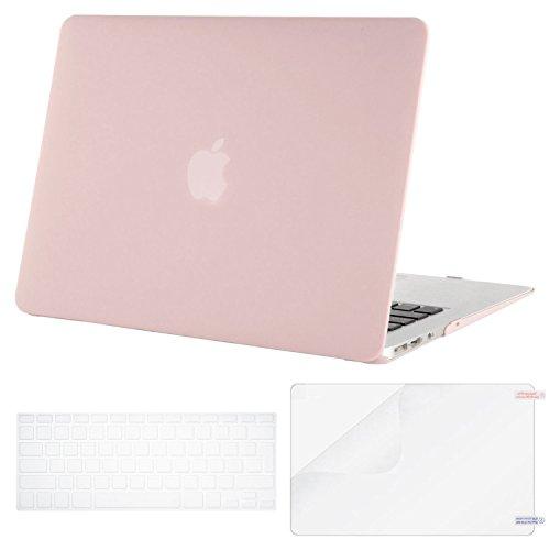 MOSISO MacBook Air 13 Hülle, Plastik Hartschale Schutzhülle Get a instinct Case mit Tastaturschutz TPU Clear Tastaturfolie mit Screen Protector für MacBook Air 13 Zoll (A1466 / A1369), Rosenquarz