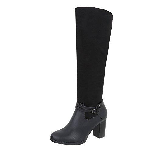 Ital-Design Klassische Stiefel Damen-Schuhe Klassische Stiefel Pump High Heels Reißverschluss Stiefel Schwarz, Gr 39, 8280-1-