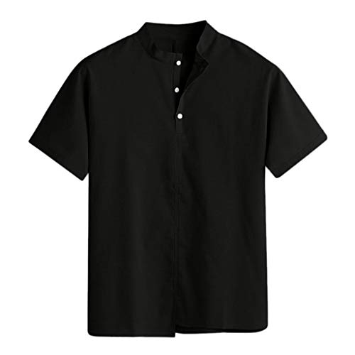 Zolimx Herren Einfarbiges kurzärmliges Hemd Männer Baggy Baumwolle Leinen Solide Stehkragen Kurzarm T Shirts Tops Blusen