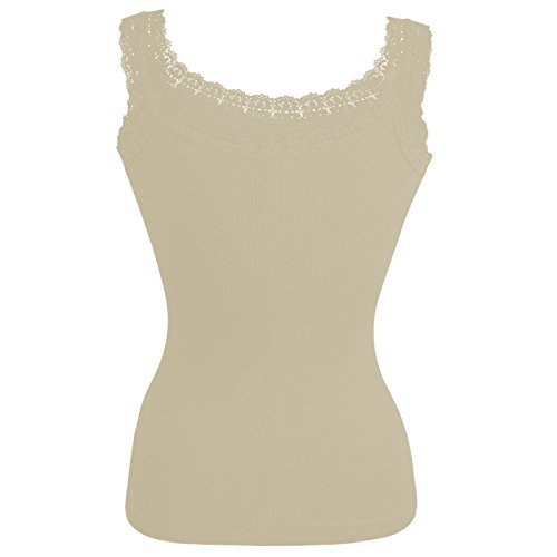 Glamexx24 La Dessous, Damen-Ripp-Top Mit Spitze, Damen Shirt-Unterhemd mit spitze Frau Traegertop fuer jeden Tag Beige