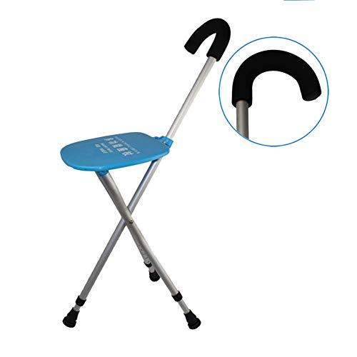 ACZZ Lffme Bastón plegable del asiento del taburete/de aleación de aluminio/altura ajustable Cargando 85-95Cm / estático 100Kg / ancianos Asiento Discapacidad Ayuda Médica Bastón