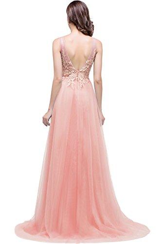 Babyonline® Damen Abendkleid Lang Elegant Prinzessin Tüll Brautjungfernkleider Rückenfrei mit Spitzen Rosa