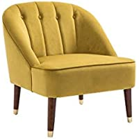 Lyon Occasional Armchair - Classic Traditional Velvet Accent Chair with Wooden Legs - Living Room and Bedroom Chair (Yellow)