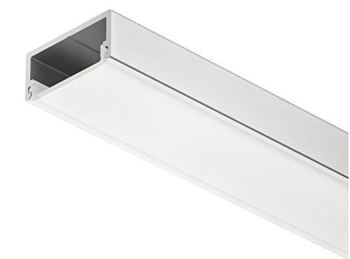Gedotec LED-Aluminium-Profil flach Loox LED Unterbau & Einbau-Profil 2500 mm Profilleiste eckig für LED-Streifen | Höhe 8,5 mm | Alu silber eloxiert | Streuscheibe milchig | 1 Stück