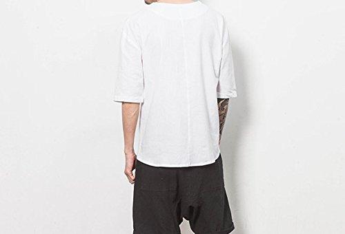 Honghu Herren Ärmel Schriftdruck T-shirt Weiß