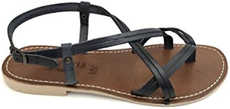 ZETA scarpe Sandali ifradito 205 in Pelle Cuoio Nero Taco Taco Taco Basso MainApps   Ufficiale  cb5b60