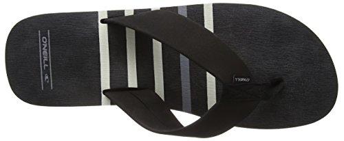 O'Neill Fm Imprint Check & Stripe Herren Zehentrenner Mehrfarbig (BLACK AOP W/ GREY 9980)