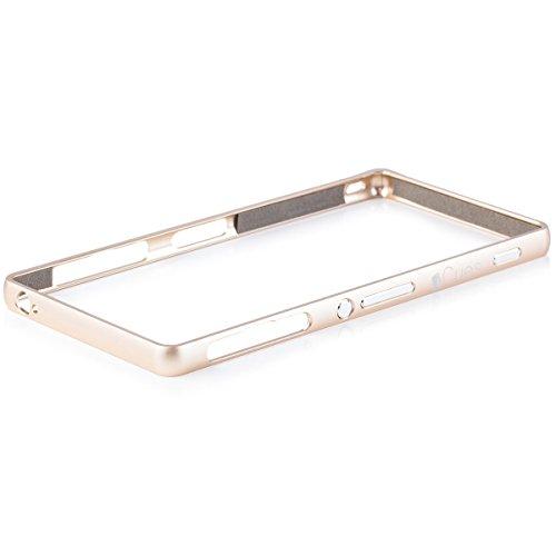 Sony Xperia Z3   iCues de parachoques de aluminio de oro Clip   [Visualiza protector incluido] CNC metal de aluminio caso del marco metálico Case Alubumper Funda Carcasa Bolsa Cover Case
