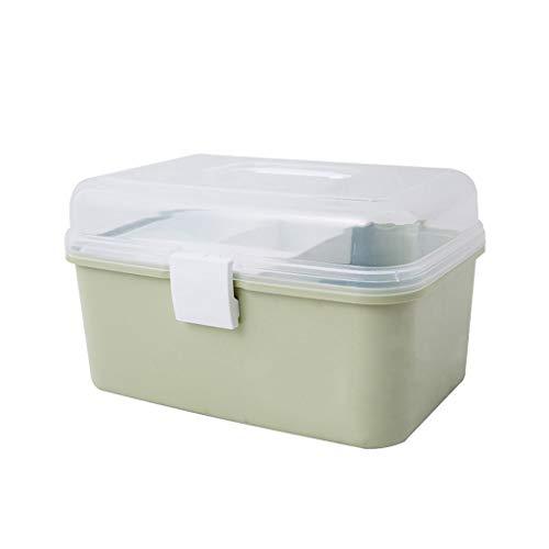 Haushaltsmedizin Box Desktop Schlafzimmer Aufbewahrungsbox Kunststoff Tragbare Medizin Aufbewahrungsbox HUXIUPING (Color : Green) -