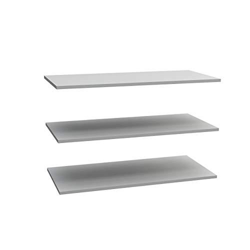 FORTE  Einlegeböden 3-er Set, Holz, grau, 57,7cm x 1,5cm x 42cm