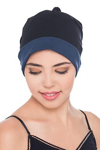 Deresina Headwear Unisex Reversibel Beanie für Krebs, Haarausfall (Schwarz-Denim)