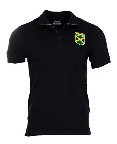 Kappa Jamaica Polo T-Shirt S M L XL schwarz gelb grün Löwe Usain Bolt Tee Jersey (L)