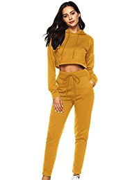 c0a709fad0b Women s Autumn and Winter Suit Casual Sports Hooded Sweater Umbilical 2Pcs  Women Solid Tracksuit Sweatshirt Long