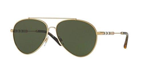 Burberry 0be3092q 114571, occhiali da sole donna, oro (light gold/green), 57