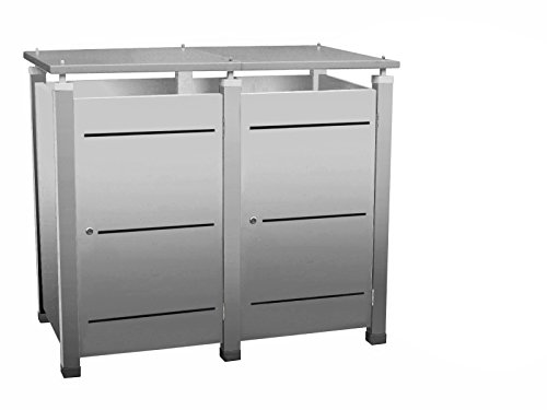 Mülltonnenbox Modell Pacco E Line3 für zwei 120 ltr. Tonnen in Edelstahloptik
