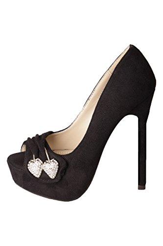 High Heels Peep Toe Pumps mit Strass Spange & hohen Stiletto Absatz (37, Schwarz)