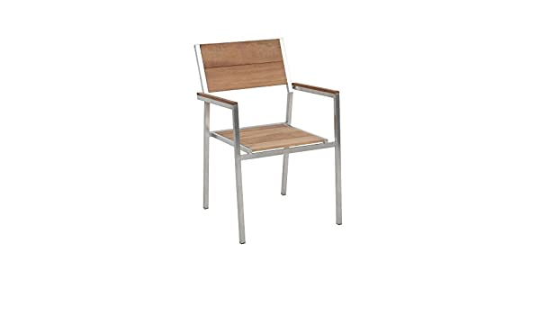 2 Stück FloraSun® Stapelsessel San Diego, Teakholz/Edelstahlgestell, 53 x 84 x 56 cm, Sitzhöhe 45 cm, gebürstete Optik, Holzoptik, max. 110 kg