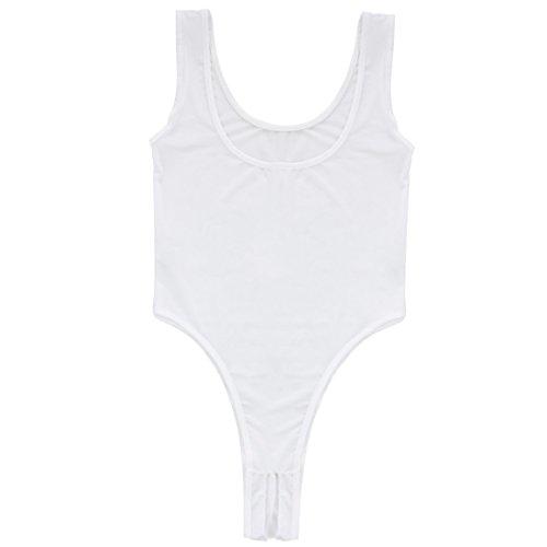 iEFiEL Damen Body Bodysuit Achselhemd Unterhemd Dessous Lingerie Nachtwäsche Reizwäsche Offener Schritt Weiß