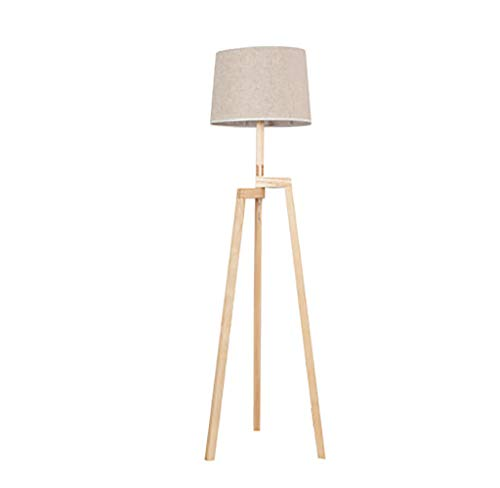 Höhenverstellbare Stehleuchte (HJR Nordic Stehleuchte Höhenverstellbar Nachttischlampe Dreibeinigen Holzschalter Home Stereo-Lampe 50x163cm A++ (Farbe : Brown))