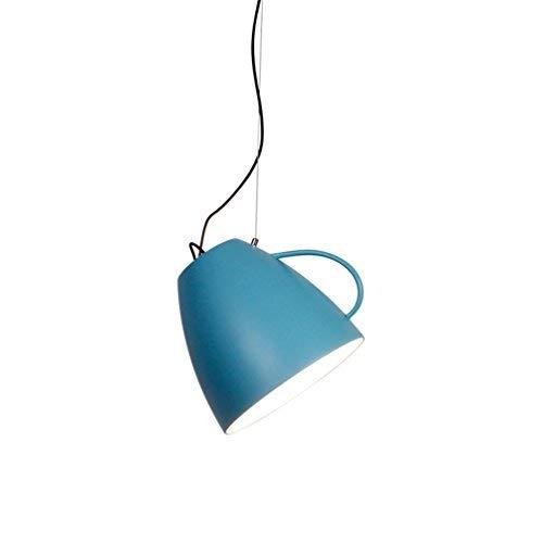 Modern Metall E27 Pendelleuchte Vintage Kaffeetasse Lampeschirm Jahrgang Eisen Design Pendellampe Macaron Farbe Hängeleuchte Innenbeleuchtung Kronleuchter Strahler für Wohnzimmer Küche Ø30cm, Blau -