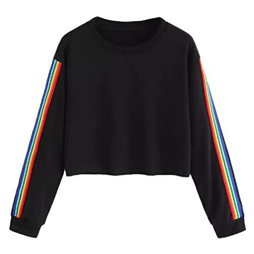 TUDUZ Damen Langarm Herbst Winter Rainbow Patchwork Sweatshirt Kapuzenpulli Kapuzenpullover Bluse Pullover(XL,Schwarz) -